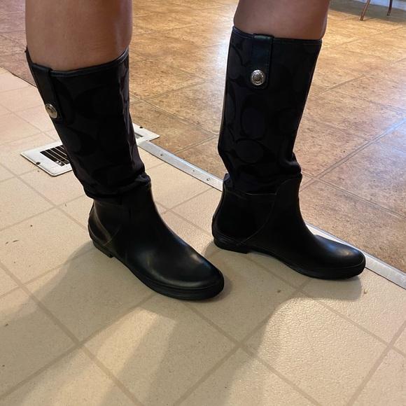 Coach black rain boots size 8